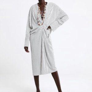 ZARA Striped Dress Tunic Draped Timelesswoman